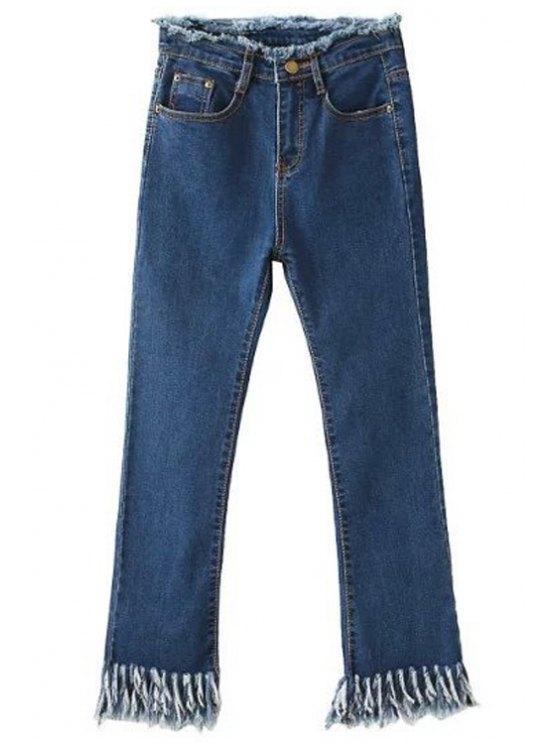 shop Fringed Blue Flare Jeans - DEEP BLUE 2XL
