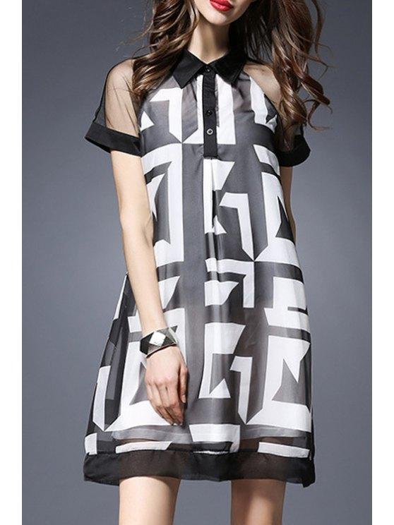 buy See-Through Flat Collar Short Sleeve Printed Dress - BLACK XL