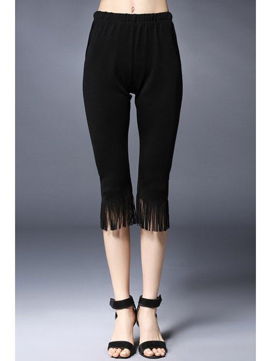 Glands épissage solides Pantalons Couleur Capri - Noir 5XL
