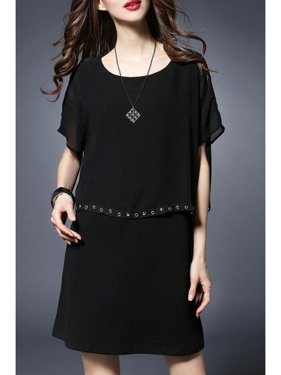 lady Rivet Embellished Round Collar Batwing Sleeve Dress - BLACK 3XL