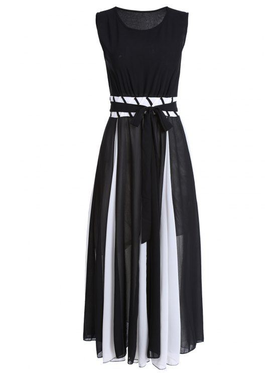 hot Color Block Round Collar Sleeveless Waisted Dress - WHITE AND BLACK L