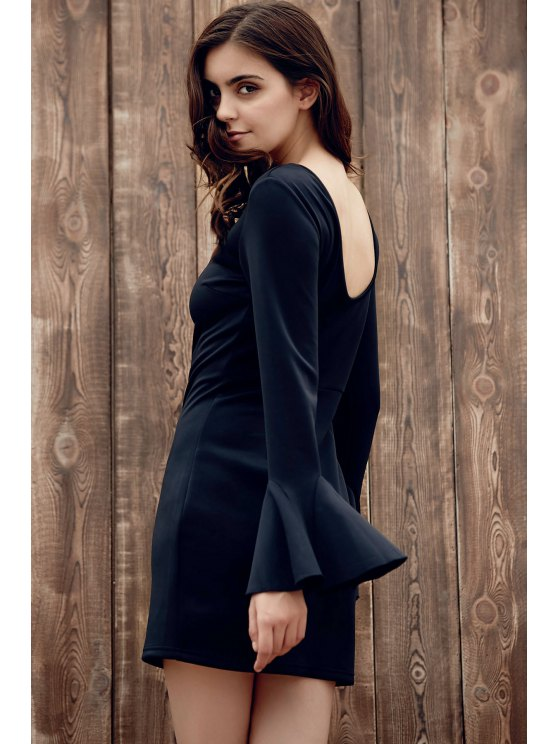 Flare Sleeve Low Back Bodycon Dress - BLACK M Mobile