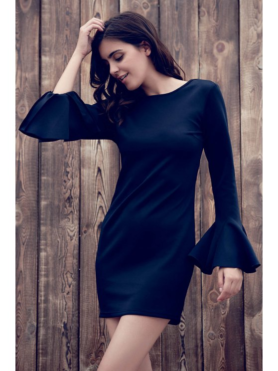 women's Flare Sleeve Low Back Bodycon Dress - BLACK 2XL