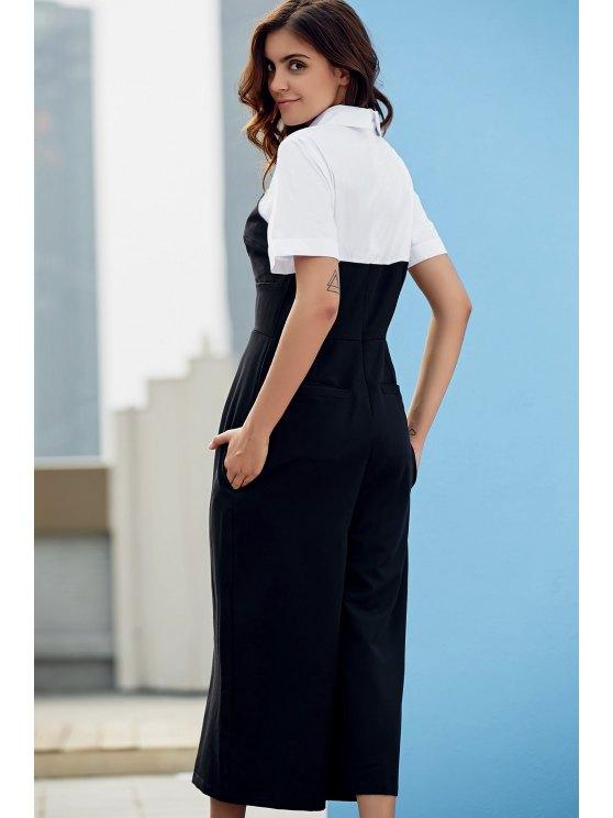 Preppy Style Color Block Jumpsuit - WHITE AND BLACK L Mobile