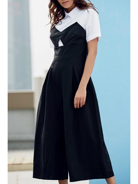 Preppy Style Color Block Jumpsuit - WHITE AND BLACK 2XL Mobile