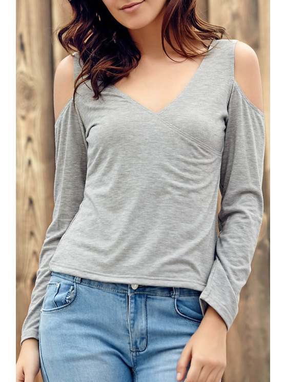 Deep V Neck Cut Out T-Shirt - LIGHT GRAY M Mobile