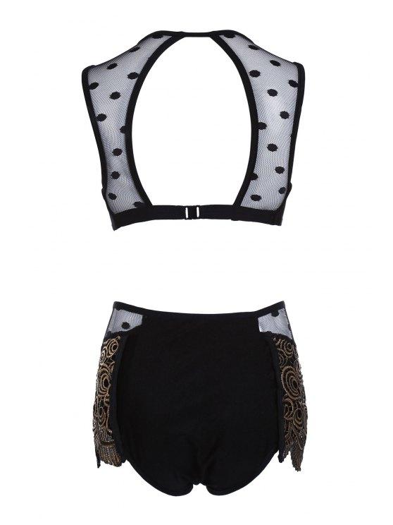 Mesh Panel Dotted Bikini Set - BLACK XL Mobile