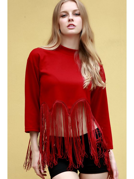 Tassels Spliced Stand Neck 3/4 Sleeve T-Shirt - RED 2XL Mobile