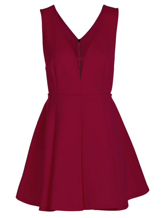 lady Solid Color Plunging Neck Sleeveless Flare Dress - CLARET S