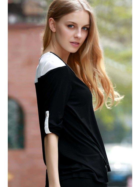 Color Block V-Neck Long Sleeve T-Shirt - BLACK 3XL Mobile