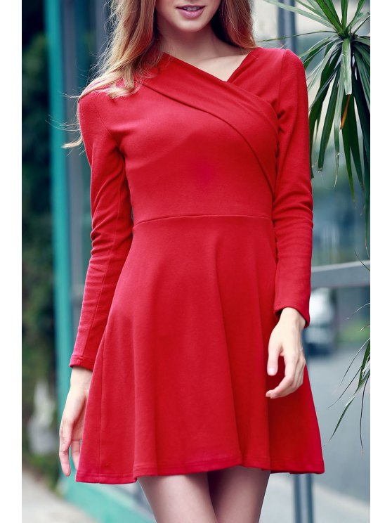 womens Solid Color Long Sleeve Crossed Dress - RED M