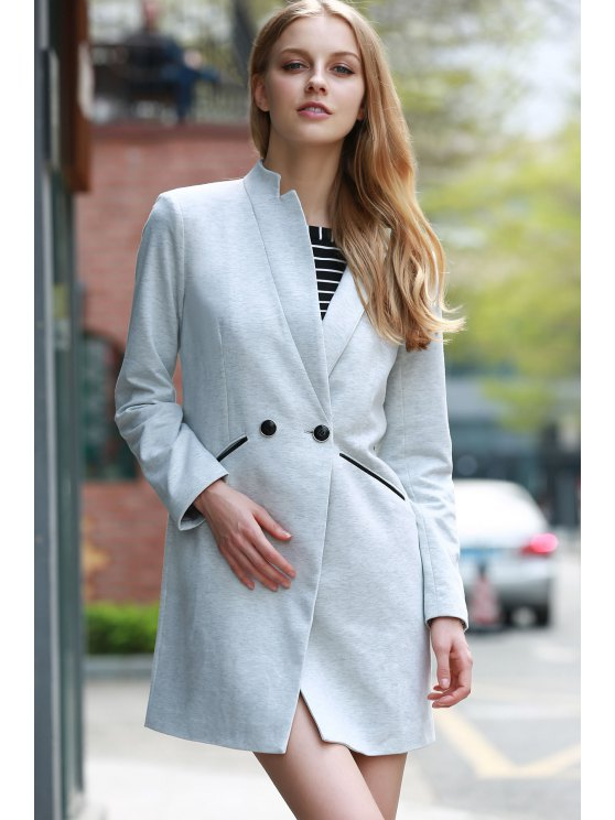 Solid Color Stand Collar Long Sleeve Coat - LIGHT GRAY 2XL Mobile