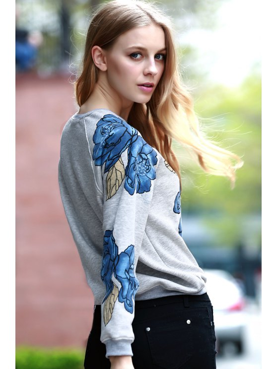 Floral Print Round Collar Long Sleeve Sweatshirt - LIGHT GRAY S Mobile