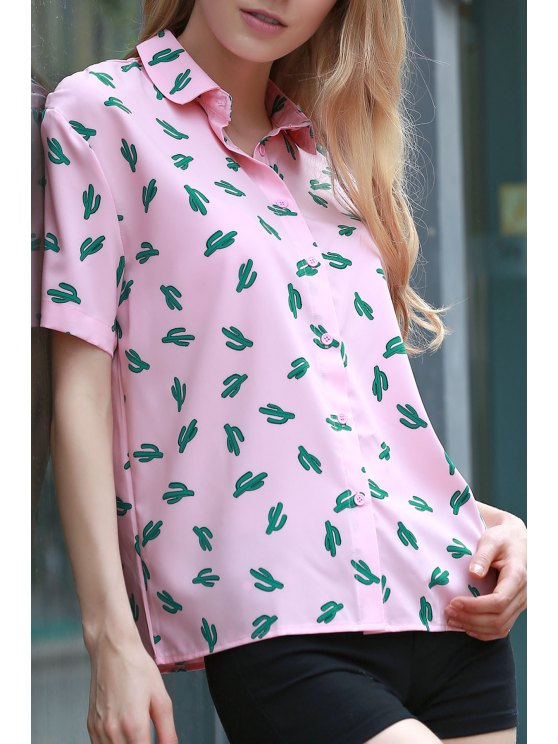best Printed Shirt Collar Short Sleeve Shirt - PINK XL