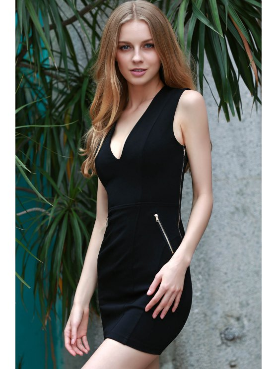 Lace Up Plunging Neck Sleeveless Slimming Dress - BLACK 3XL Mobile