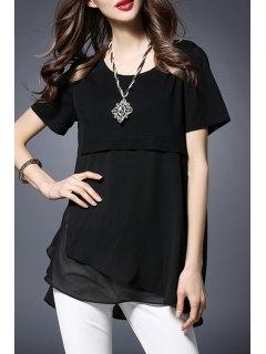Chiffon Spliced Round Collar Short Sleeve T-Shirt - Black 3xl