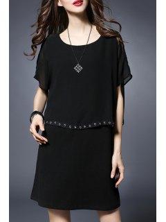 Rivet Embellished Round Collar Batwing Sleeve Dress - Black 2xl