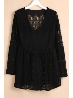 V-Neck Bell Sleeve Lace Dress - Black M
