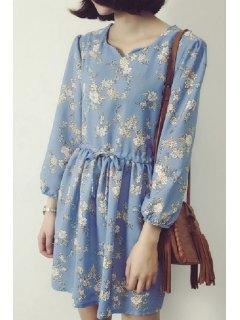 Loose Printed Round Neck Long Sleeve Chiffon Dress - Light Blue 4xl