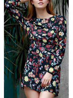 Tiny Floral Print Jewel Neck Long Sleeve Dress - Black 3xl