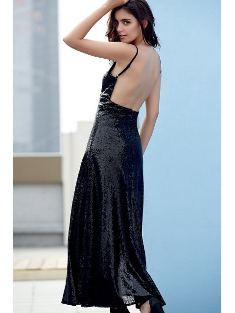 hot Backless Sequins Spaghetti Strap Maxi Dress - BLACK L Mobile