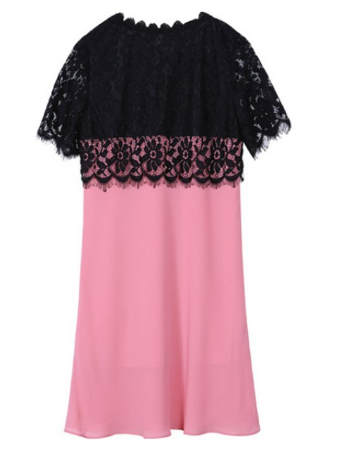 fashion Lace Spliced Round Collar Short Sleeve Dress - BLACK AND PINK 2XL Mobile