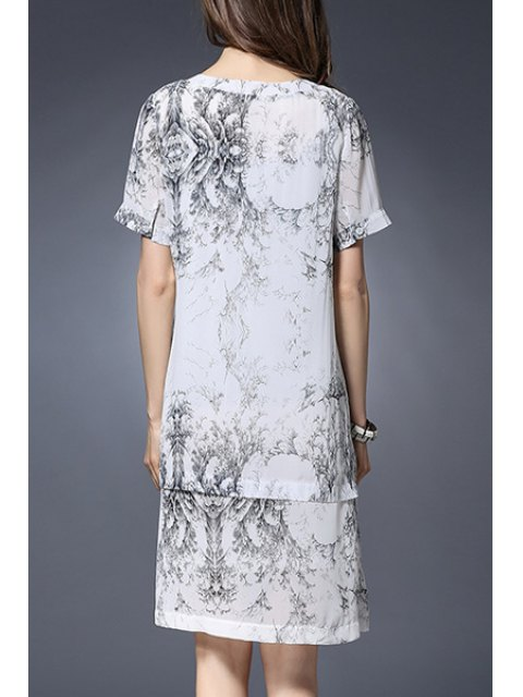 shop Printed Notched Neck Short Sleeve Dress - WHITE 3XL Mobile