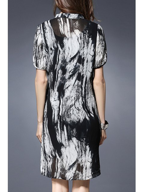 affordable Printed Short Sleeve Loose Fitting Dress - BLACK 5XL Mobile