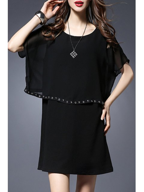 women's Rivet Embellished Round Collar Batwing Sleeve Dress - BLACK XL Mobile