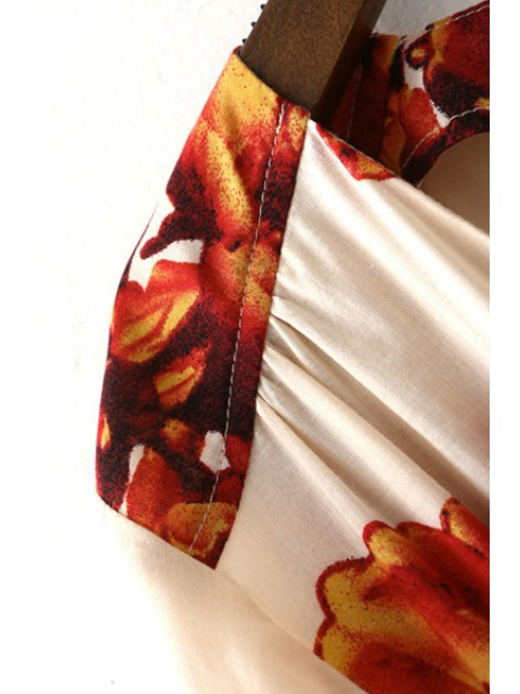 fashion Flower Print Plunging Neck Lartern Sleeve Romper - SAPPHIRE BLUE M Mobile