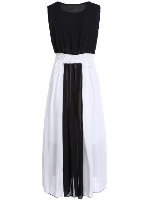 hot Color Block Round Collar Sleeveless Waisted Dress - WHITE AND BLACK L Mobile