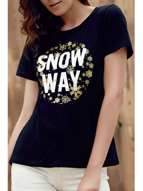 women All-Match Black Letter T-Shirt - BLACK L Mobile