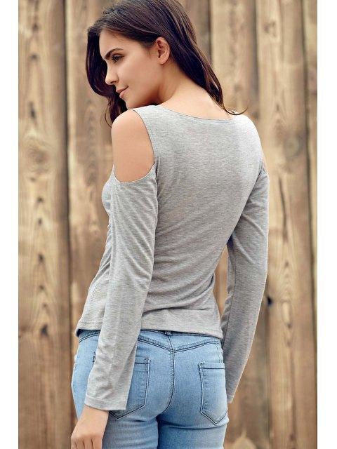 ladies Deep V Neck Cut Out T-Shirt - LIGHT GRAY S Mobile