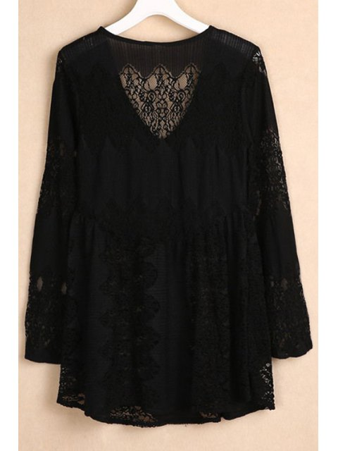 latest V-Neck Bell Sleeve Lace Dress - BLACK M Mobile