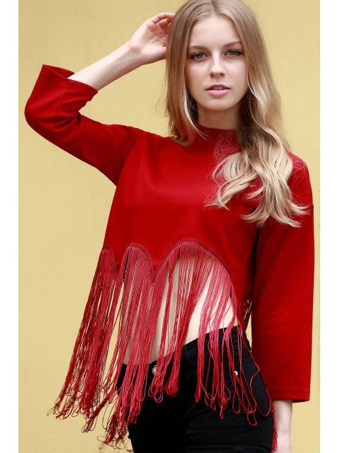 latest Tassels Spliced Stand Neck 3/4 Sleeve T-Shirt - RED 2XL Mobile