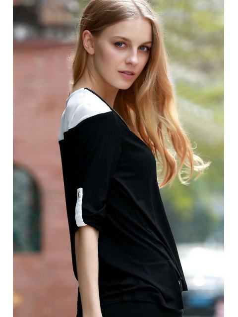 womens Color Block V-Neck Long Sleeve T-Shirt - BLACK XL Mobile