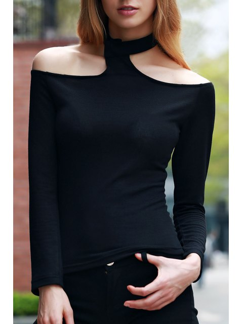 chic Solid Color Long Sleeve T-Shirt - BLACK L Mobile