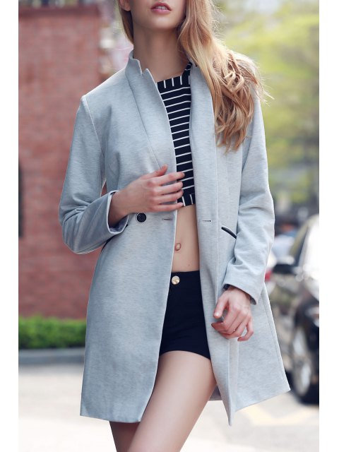 lady Solid Color Stand Collar Long Sleeve Coat - LIGHT GRAY 2XL Mobile