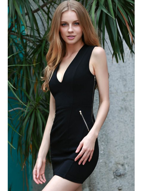 shop Lace Up Plunging Neck Sleeveless Slimming Dress - BLACK XL Mobile