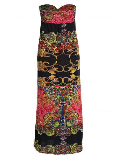 Vintage Print Strapless Maxi Dress от Zaful.com INT