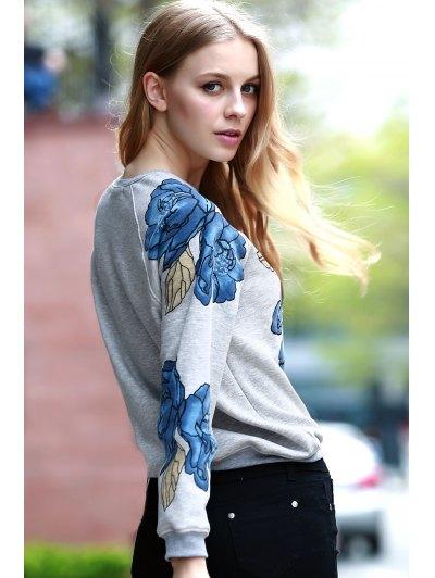 Floral Print Round Collar Long Sleeve Sweatshirt - LIGHT GRAY S Mobile