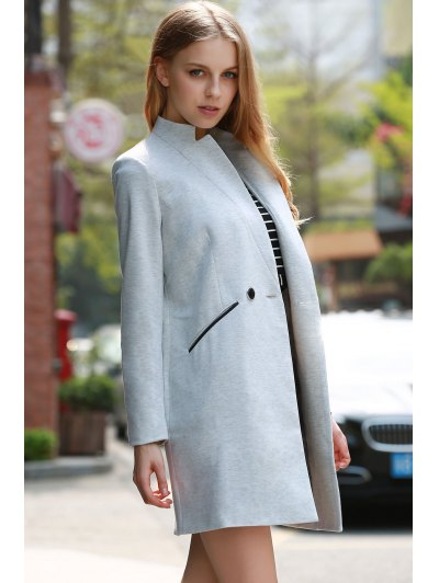 Solid Color Stand Collar Long Sleeve Coat - LIGHT GRAY L Mobile