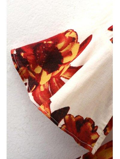 Flower Print Plunging Neck Lartern Sleeve Romper - SAPPHIRE BLUE S Mobile