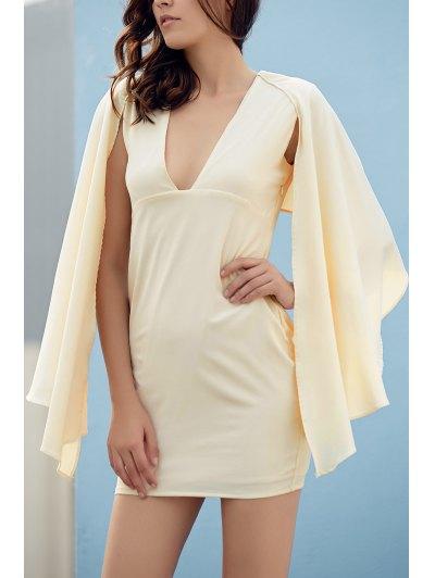 Bodycon Plunging Neck Cape Sleeve Mini Dress - OFF-WHITE L Mobile