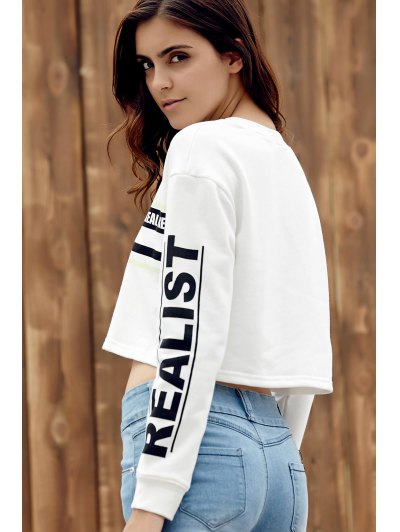 Printed Cropped Round Collar Long Sleeve Sweatshirt - WHITE L Mobile