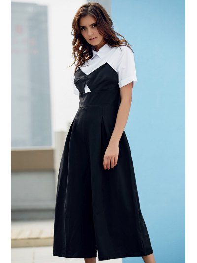 Preppy Style Color Block Jumpsuit - WHITE AND BLACK XL Mobile