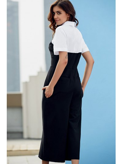 Preppy Style Color Block Jumpsuit - WHITE AND BLACK L Mobile