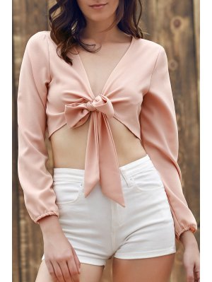 Plunging Neck Front Knot Crop Top - Complexion