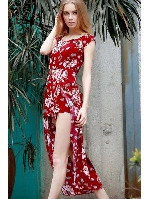 Floral Off The Shoulder Short Sleeve Playsuit - Wine Red