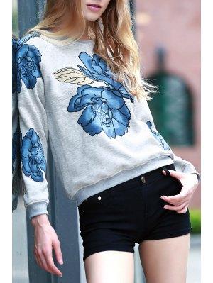 Floral Print Round Collar Long Sleeve Sweatshirt - Light Gray